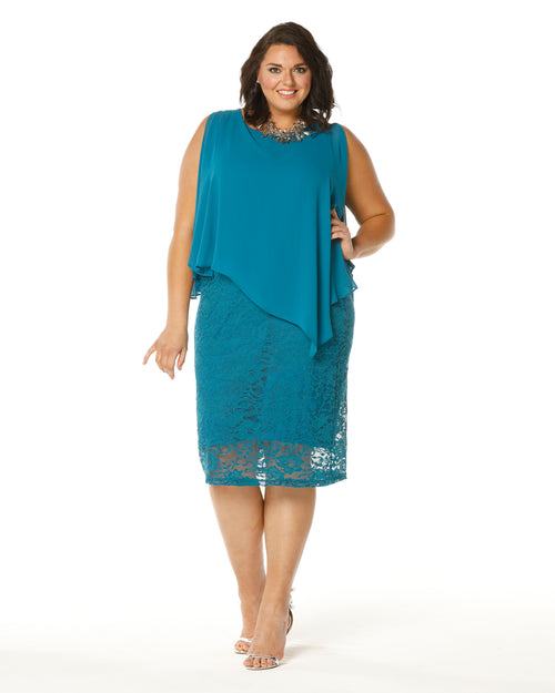 Michelle  Lace Dress - Teal size 16-26