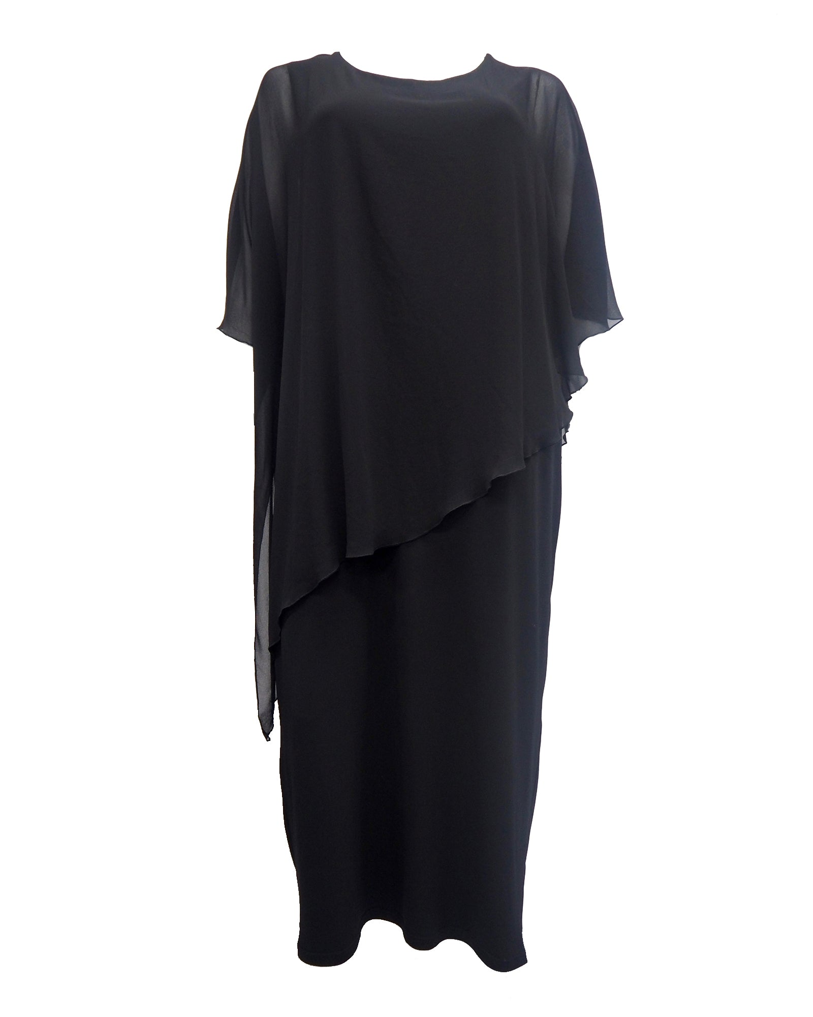 Plus size evening dress, black long dress