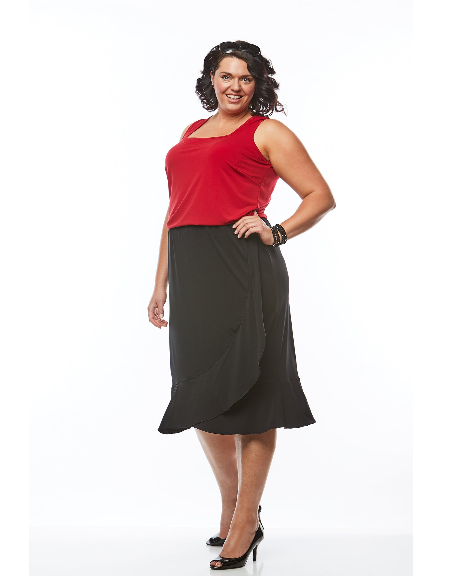 Plus size singlet top red