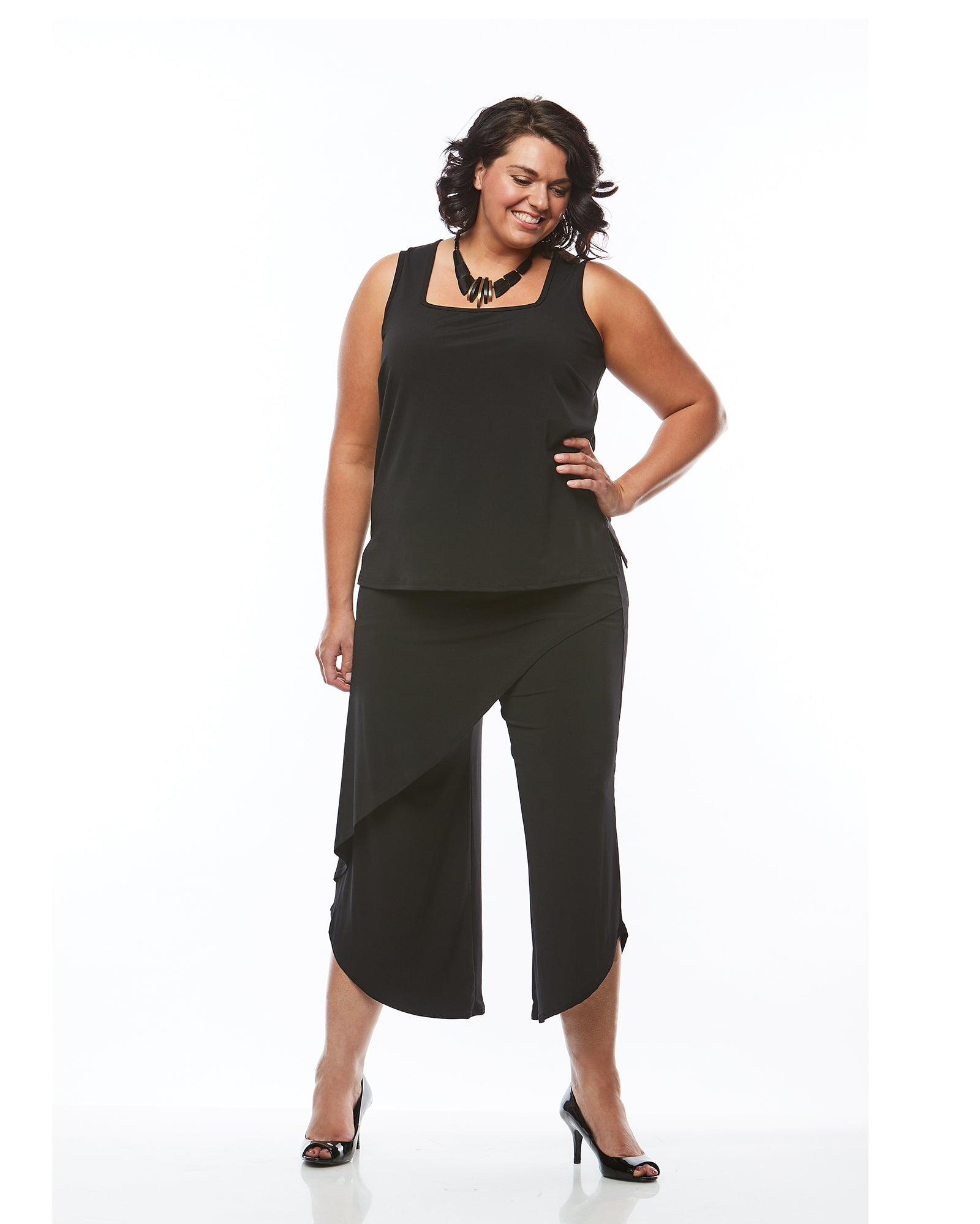 Plus size singlet top black, RTM, Room To Move