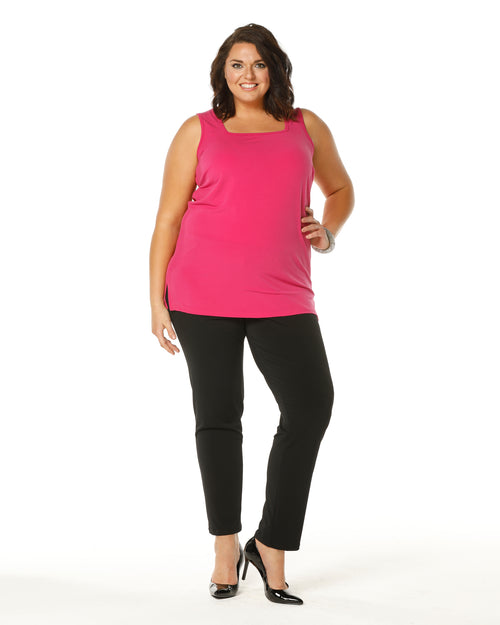 Square Neck Singlet - Long- Fuschia