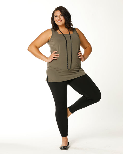 Square Neck Singlet - Long- Khaki last sizes 12,14 & 24