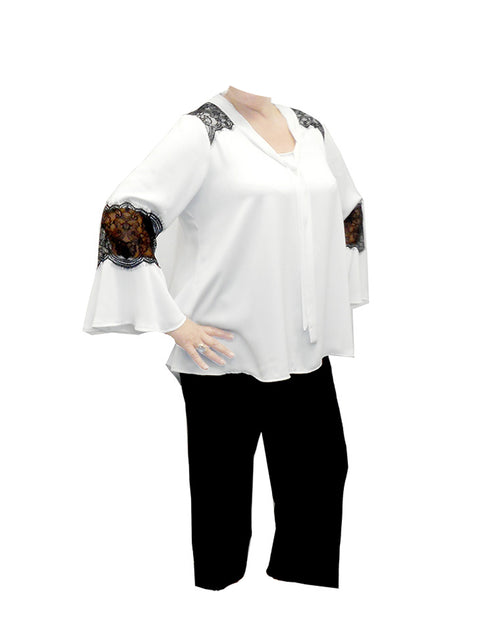 Room To Move Plus size top, White top, Lace