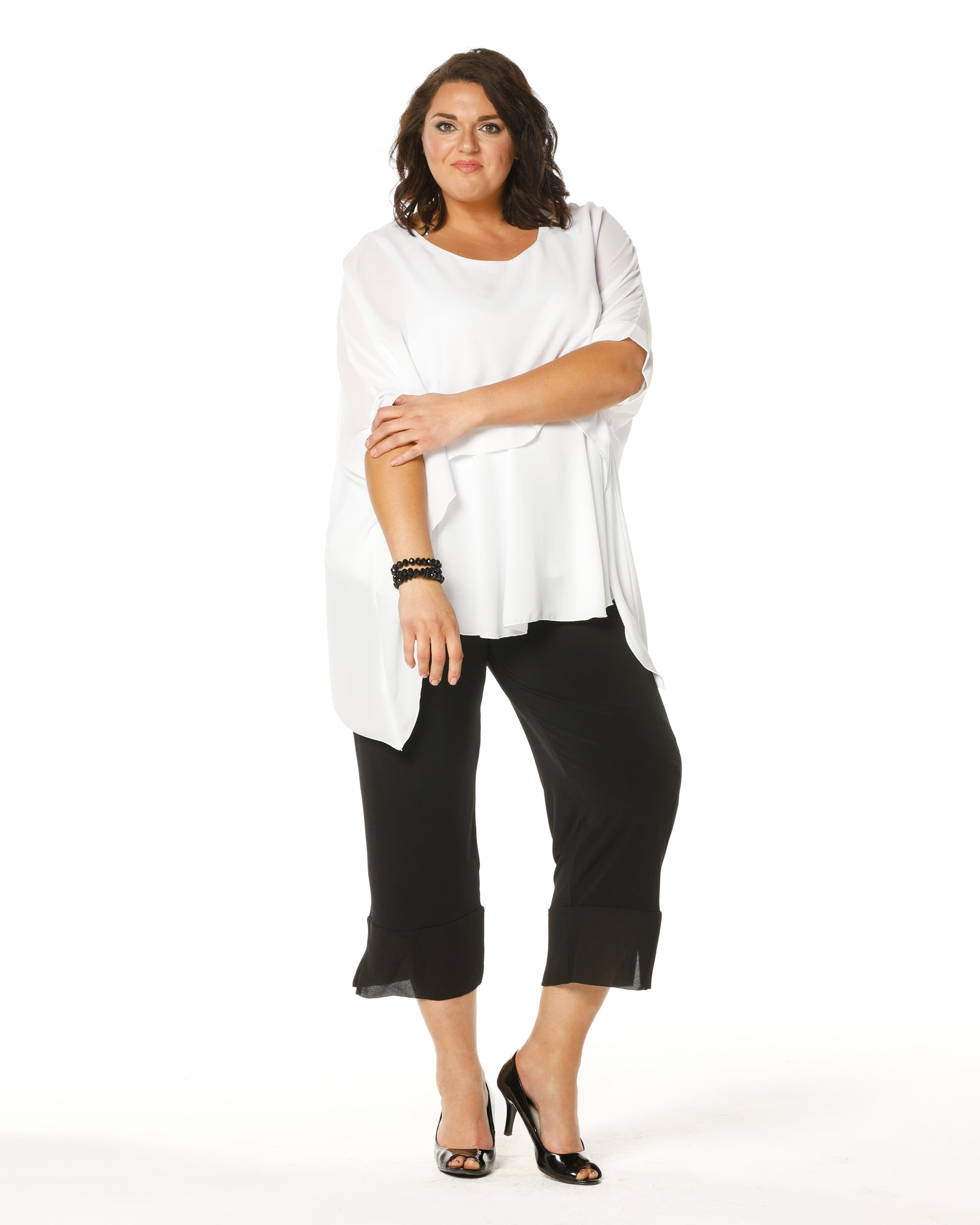 Crop Ayva Chiffon Pants -Black last size 18 50% off