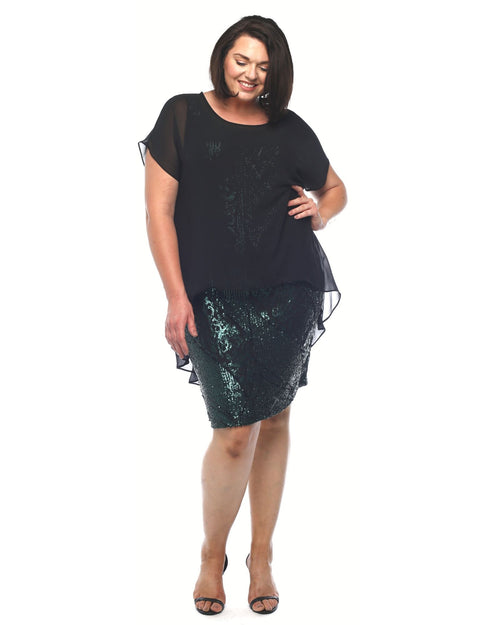 Penny Sequin Dress With Chiffon Overlay- Size 12 -26