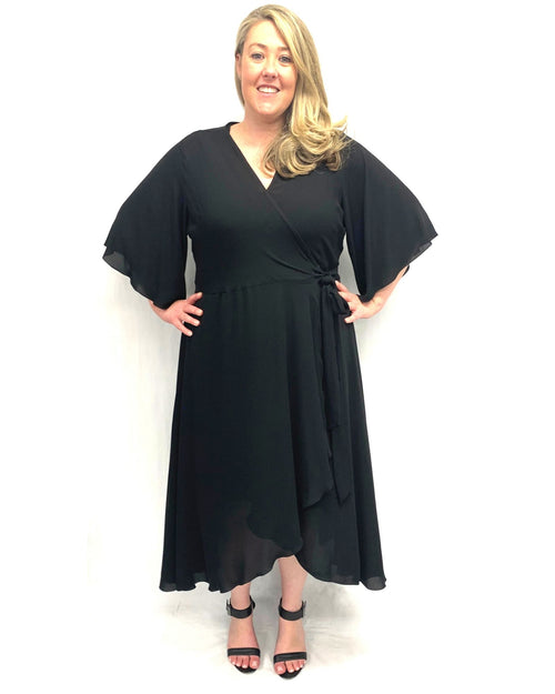 Elise Chiffon Wrap Dress - Black Last size 14