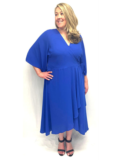 Elise Chiffon Wrap Dress - Royal Size 12 -26