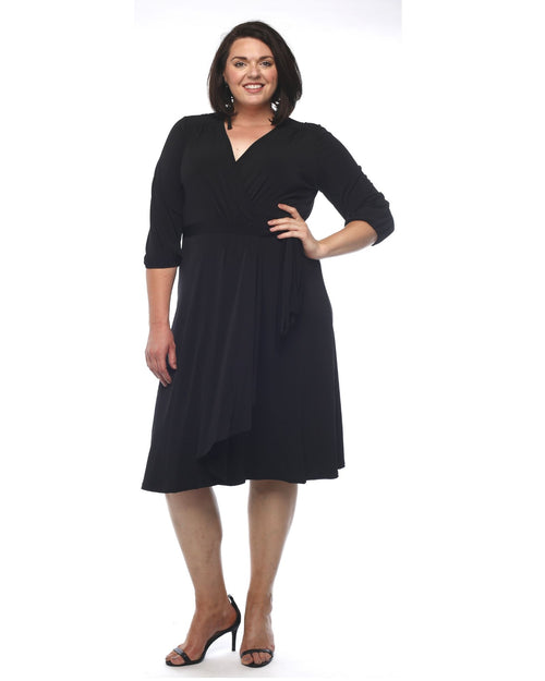 Deb Soft Knit Wrap Dress - Black Size 12 -26