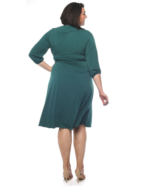 Deb Soft Knit Wrap Dress - Pine Size 12 -26