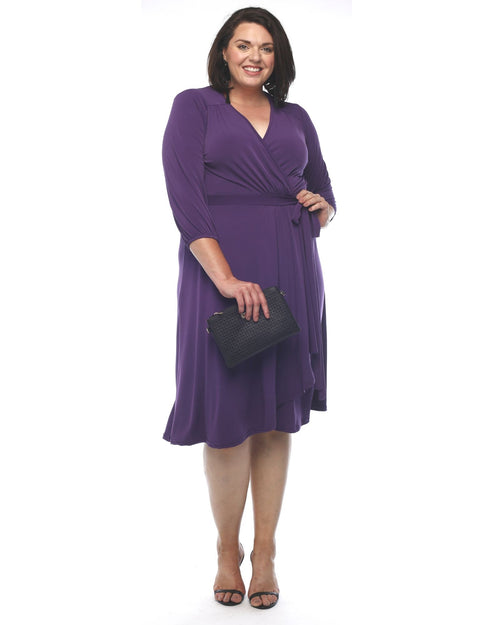 Deb Soft Knit Wrap Dress - Lavender -Size 12-26