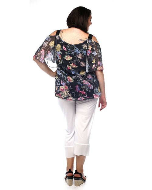 Macey Chiffon Print Top -Floral- Last Size 22