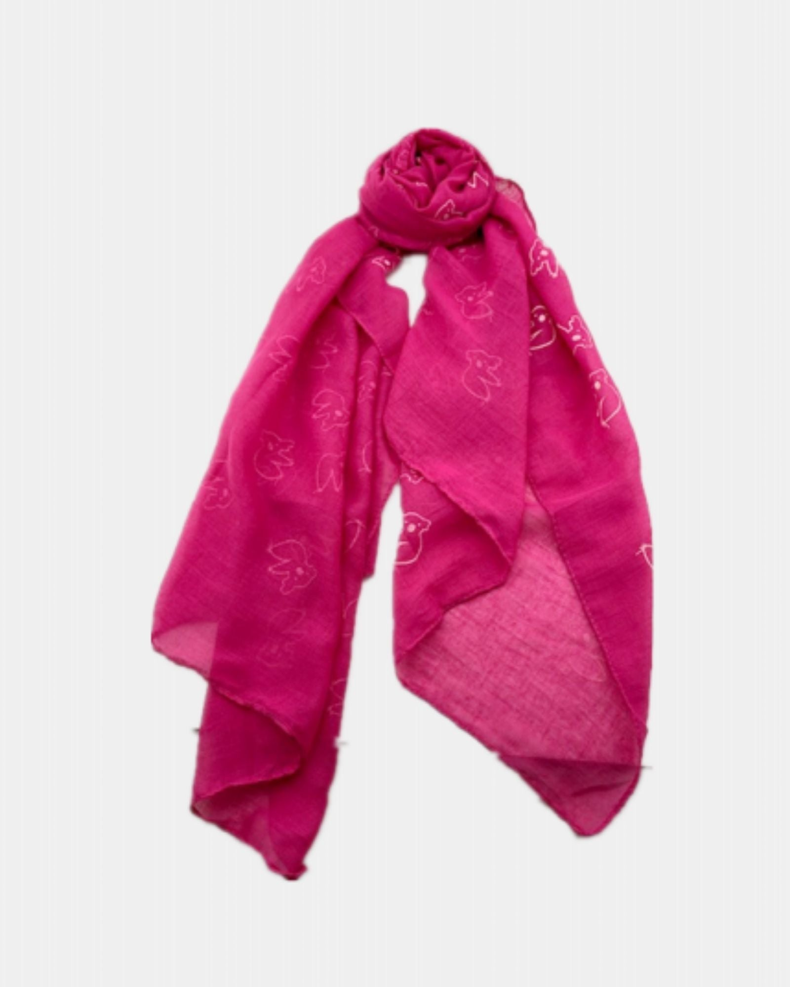 Koala Print Scarf - Hot Pink - 100% Cotton