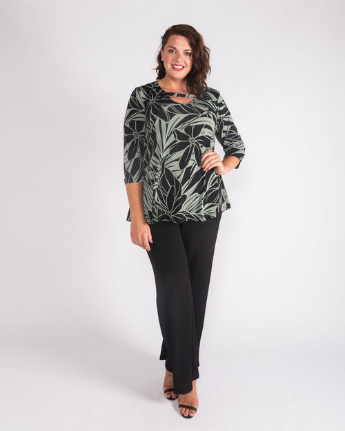 Green Phoebe Print Top size 12-26