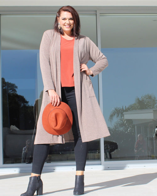 Eliza Long Line knit Jacket - Mocha - size 12 - 26
