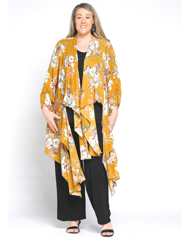 Contrast Print Cardigan - Brown Size14-22