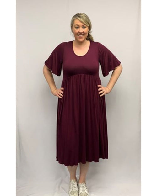 Molly Dress with gathers - Port-  Size 12 -26