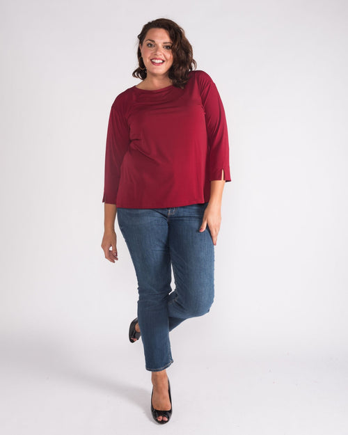 Soft Knit 3/4 Sleeve Top - Berry