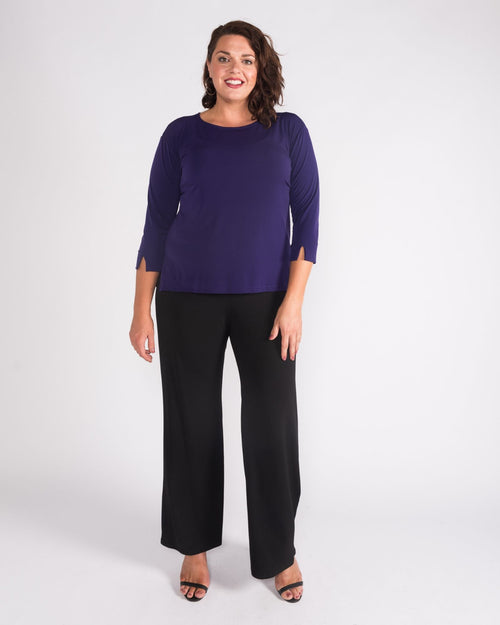 Soft Knit 3/4 Sleeve Top - Purple