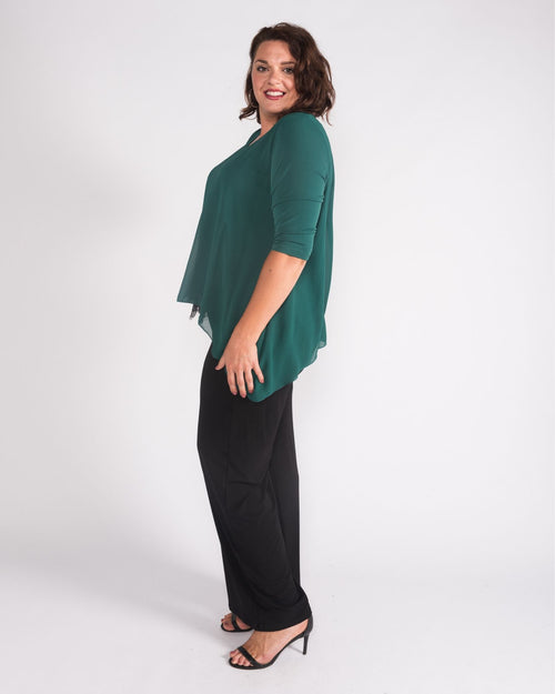 Mary Lace Trim Top Green size 12-26