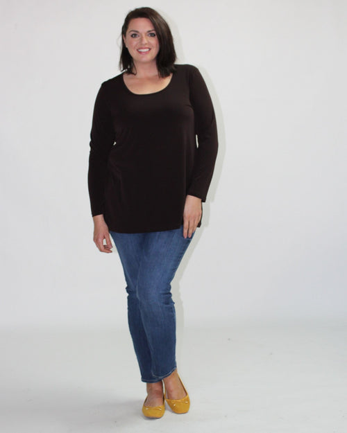 Soft Knit Long Sleeve Top- Chocolate size 14,22,24