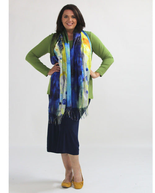 Bright Scarf - Lime & Cobalt