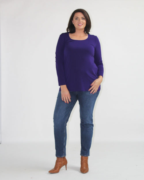 Soft Knit Long Sleeve Top- Purple