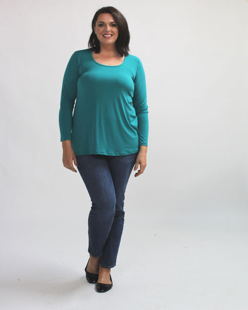 Soft Knit Long Sleeve Top- Teal