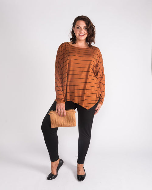 Relaxed Boat Neck Top - Ginger Stripe -Size 10-24