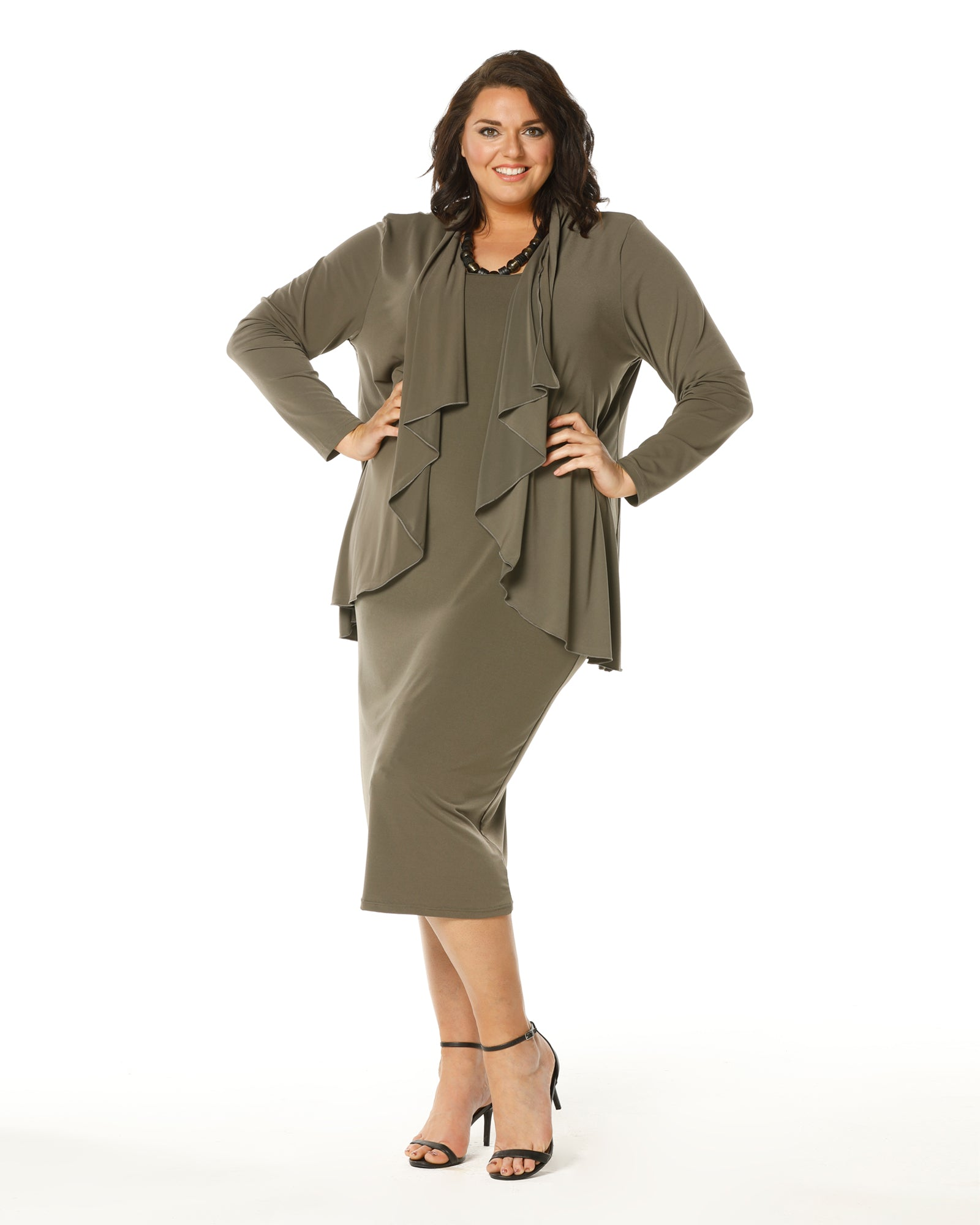 Roxanne Dress -Khaki size12,16,20,24