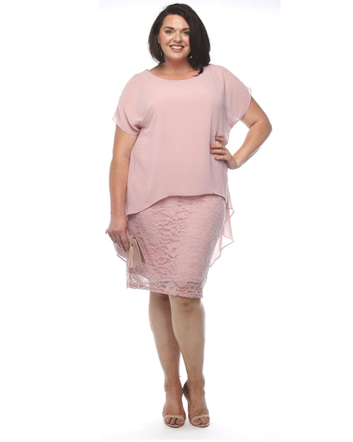 Avalon Stretch Lace Dress - Pink
