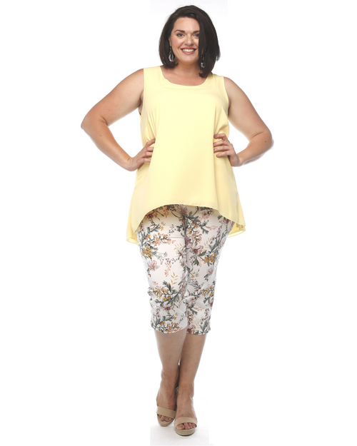 Printed Bengaline Pull On Pant - White Size 14-24