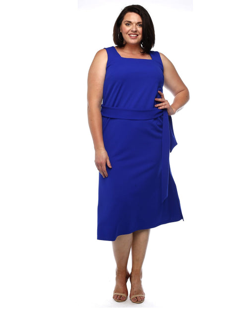 Jorden Scuba Square Neck Dress - Cobalt Size 12 -26