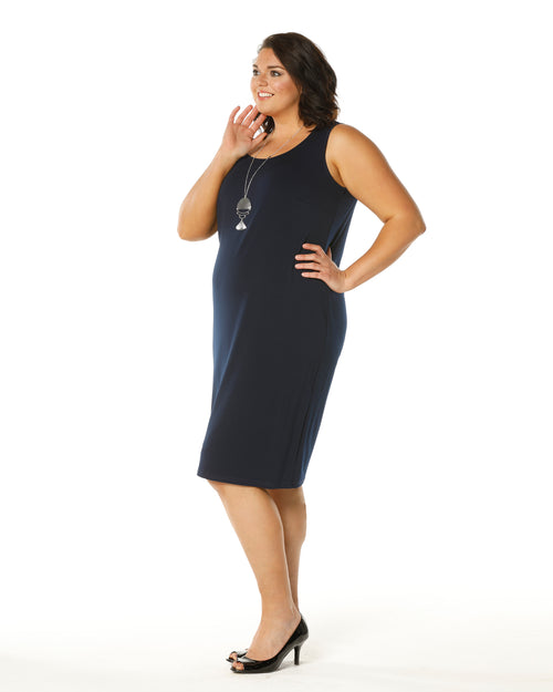 Meryl Singlet Dress - Navy Size 12-26