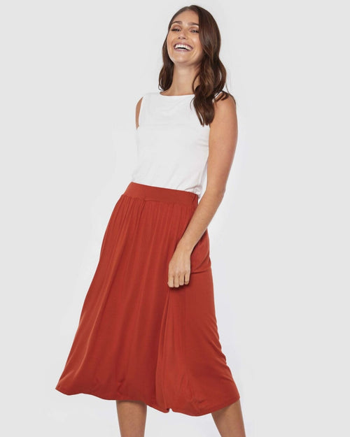 Bamboo Midi Skirt- Rust- Up To XXL - Size 18