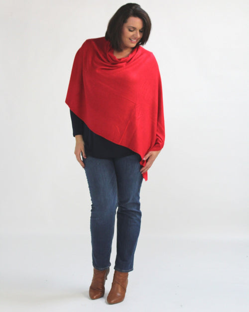 Multi-wear Poncho Scarf - Red