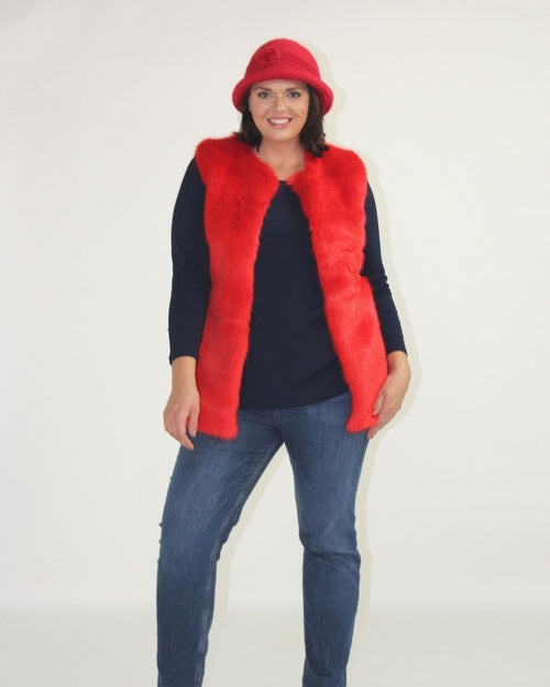 Faux Fur Vest - Red