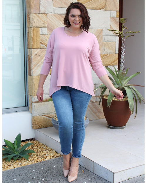 Relaxed Hi Lo Top - Pink