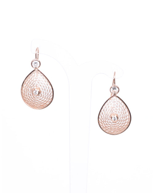 Rose Filigree and Crystal Teardrop Earrings