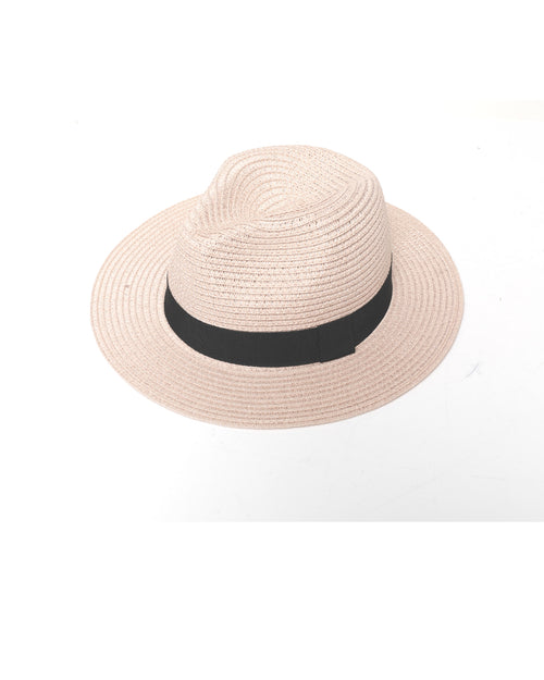 Pink Fedora Sun Hat - Black  Trim