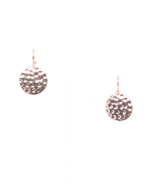Rose Gold Mini Beaten Disk Earrings