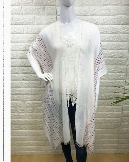 Colour Stitch Embroidery Trim Cover Up - White -100% Cotton