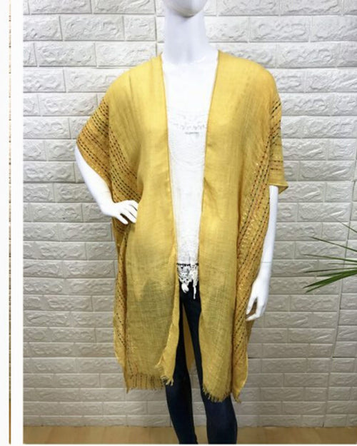 Colour Stitch Embroidery Trim Cover Up - Mustard -100% Cotton