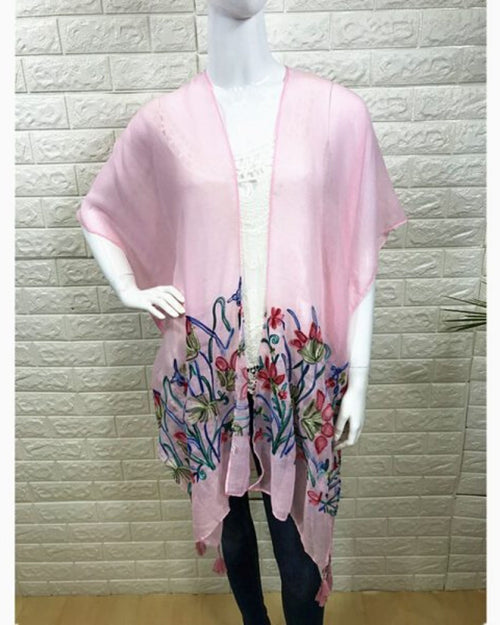 Cotton Embroided Cover Up -Pink