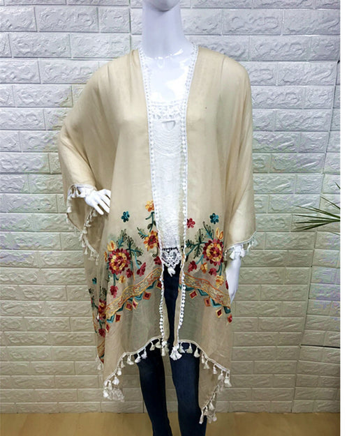 Cotton Embroided Floral Cover Up -Natural