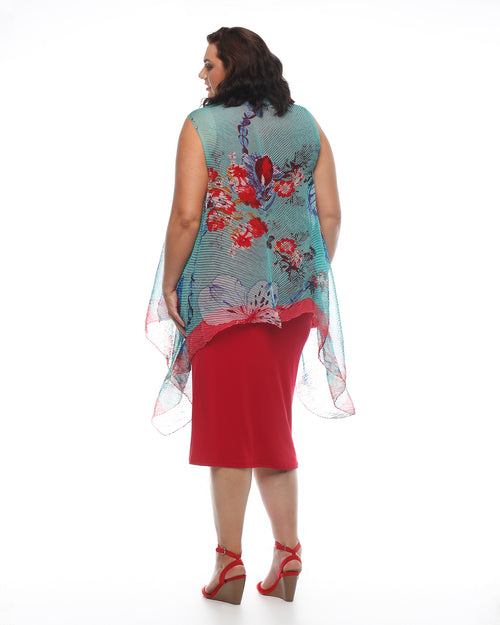Chiffon Vest - Teal/Red