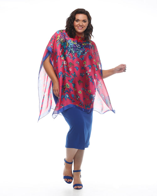 Chiffon Butterfly Poncho- Pink/Cobalt
