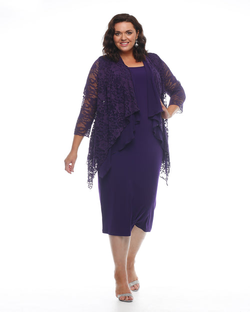 Carmen Chiffon & Lace Jacket -Purple