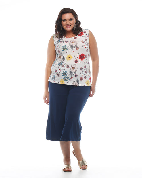 Bamboo Culottes- Navy - Size 8-24