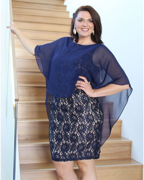 Karen Dress - Navy sizes 18-24
