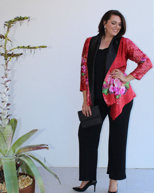Silk Evening Jacket - Red